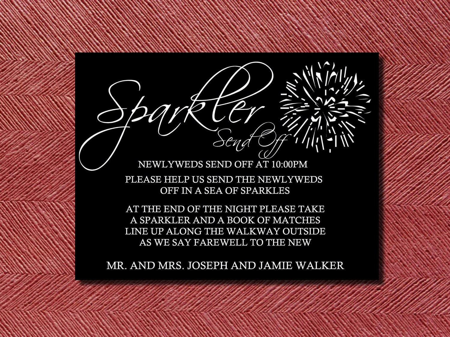 Custom Designed Wedding Sparkler Send Off Sign or Poster DIY | Etsy
