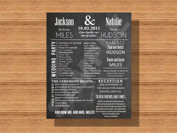 chalkboard wedding program with thank you note bridal party etsy