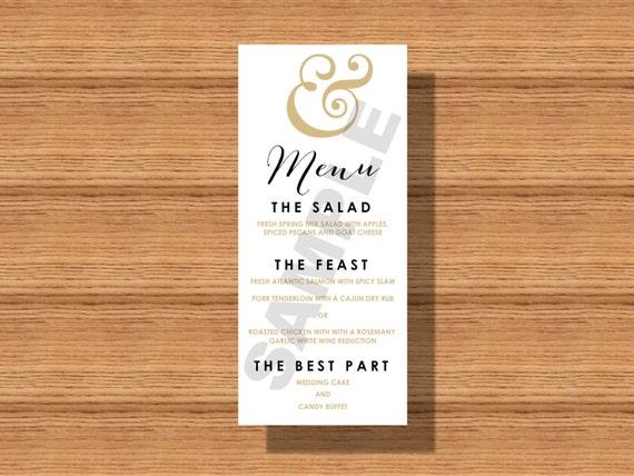 Ampersand Wedding Reception Dinner Menu Modern Wedding Dinner Etsy