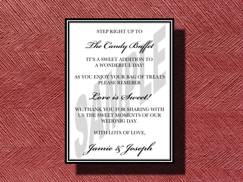 Wedding Candy Bar Sign Candy Buffet Sign Printable Wedding | Etsy