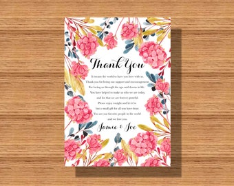 Wedding Reception Floral Thank You Card, Wedding Thank You Notes, Elegant and Bright Thank You for your Wedding or any Special Event