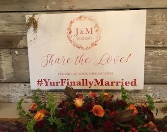 Printable Wedding Hashtag Sign, Monogramed Hashtag Sign, Hashtag for Your Wedding or Any Special Event