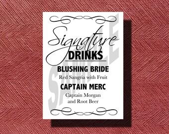 Custom Designed Wedding Signature Drinks Sign