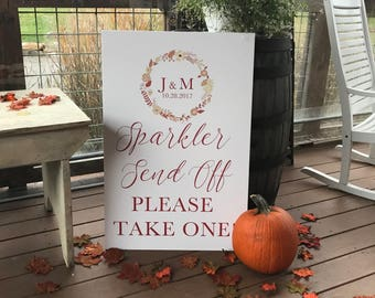 Printable Wedding Sparker Send Off Sign, Monogramed Sparkler Send Off Sign, Sparkler Send Off Sign for Your Wedding or Any Special Event