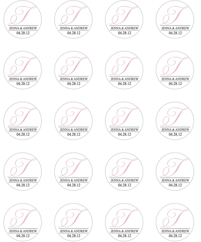 Wedding Favor 15 Inch Round Favor Sticker Template Diy Print Etsy