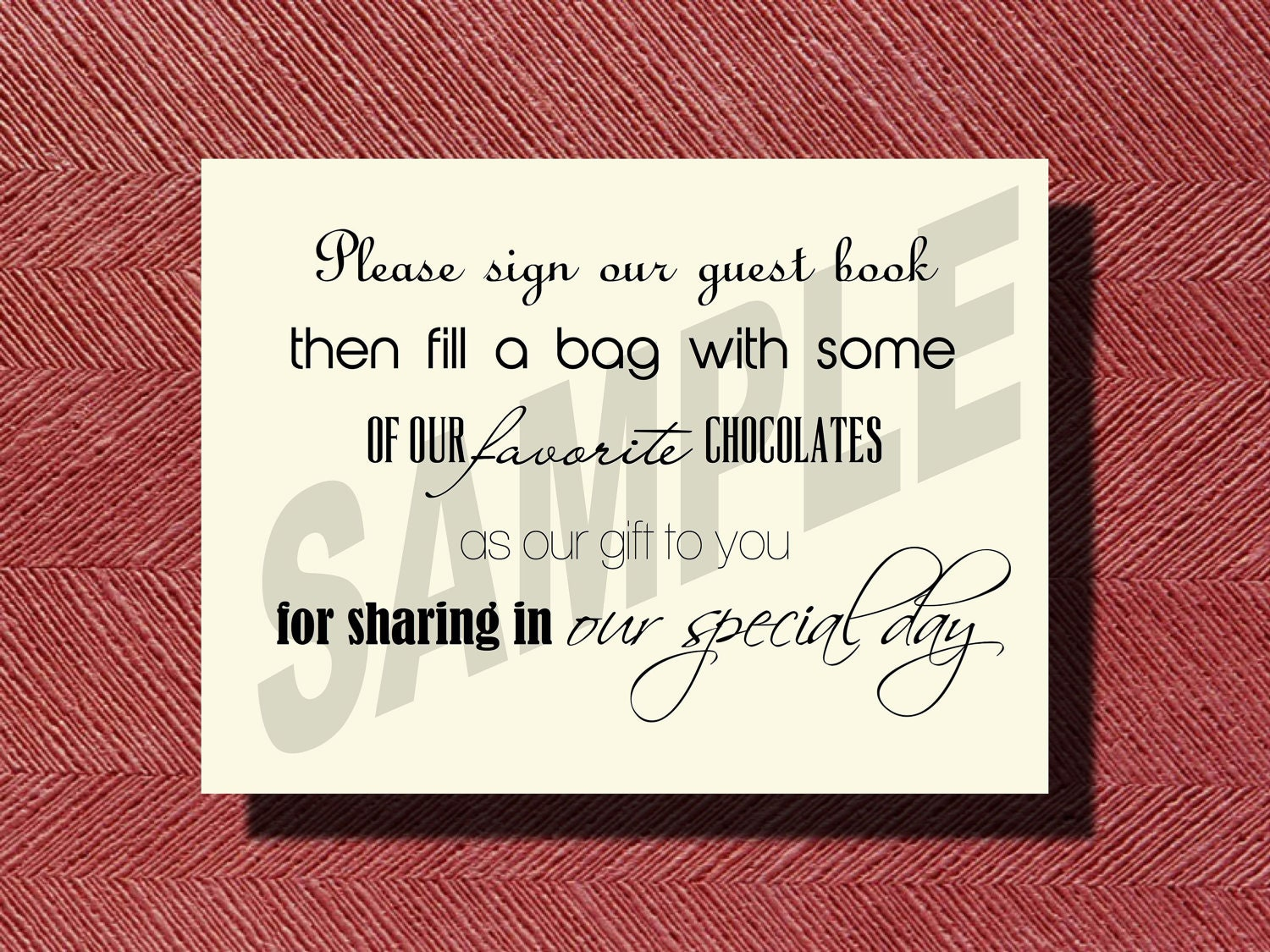 Wedding Guest Book Sign Favor Sign