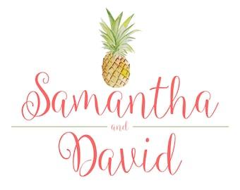 Custom Designed Tropical Wedding Monogram Design, Pineapple Wedding Logo, Digital Gobo, Digital Wedding Monogram, Logo Design for your Event