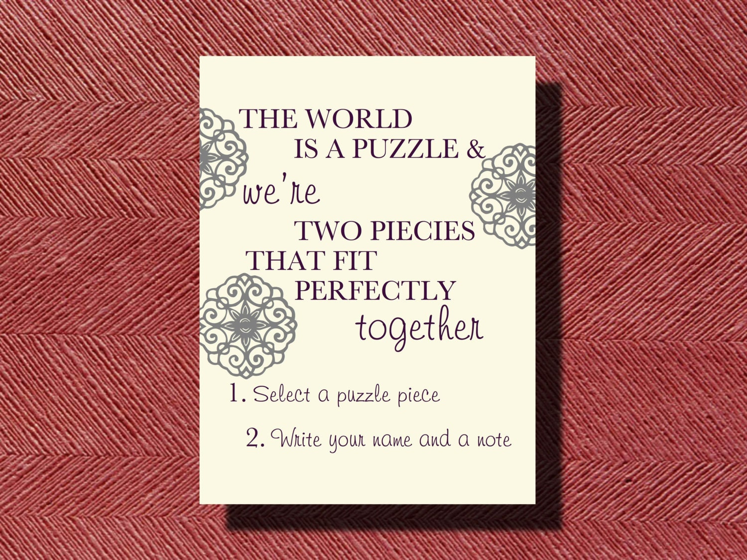 Wedding Puzzle Piece Guest Book Instructional Sign DIY