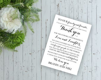 150 Printed Wedding Reception Thank You Notes, Wedding Thank You, Simple Elegant Thank you to Guests for your Special Event