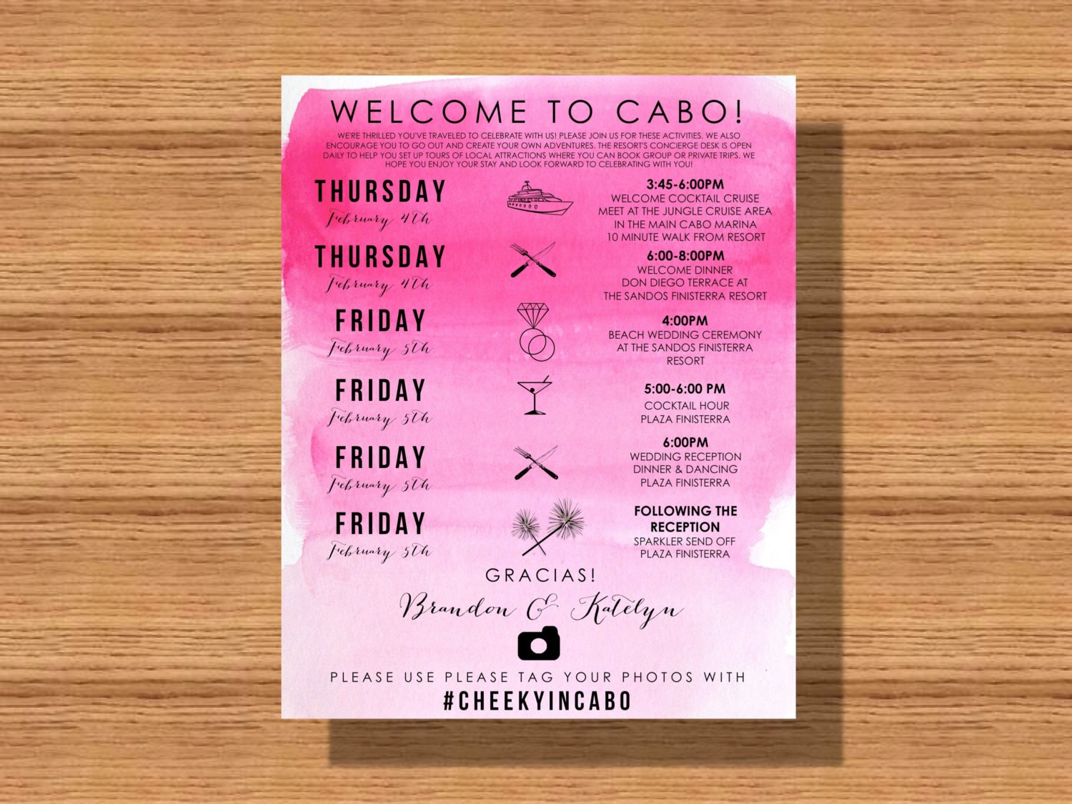 Cabo Mexico Destination Wedding Welcome Weekend Itinerary | Etsy