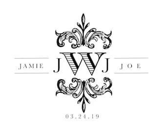 Custom Designed Digital Wedding Monogram Design, Wedding Logo, Digital Gobo, Elegant Wedding Monogram Printable, Logo Design for your Event