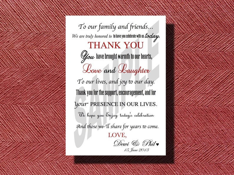 The Original Custom Designed Wedding Day Thank You Card or Sign Print Ready DIY