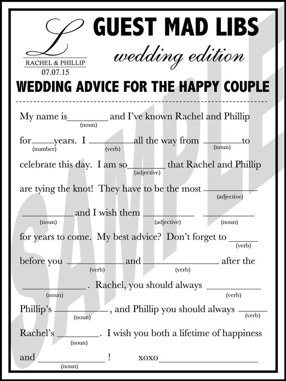 photograph relating to Wedding Mad Libs Printable referred to as Printable Marriage ceremony Ridiculous Libs A Pleasurable Visitor Guide Decision
