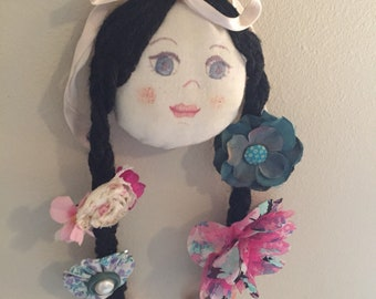 Vintage Hand Sewn Hand Painted Hair Clip Accessory Holder Doll