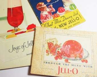 Lot of 3, JELL-O Cookbooks, Through the Menu with JELL-O, What Mrs Dewey Did, Joys of Jell-O, Gelatin Dessert