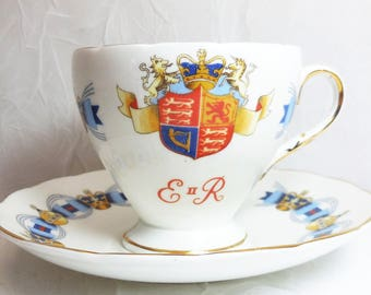Queen Elizabeth II Coronation Tea Cup & Saucer, 1953, Foley Bone China