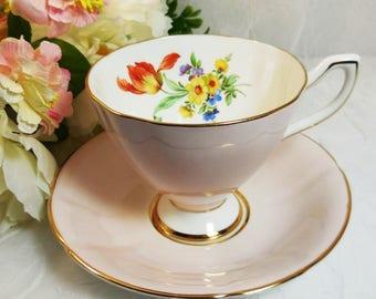 Spring Floral, Pink Tea Cup and Saucer Set, Taylor & Kent, Pattern 128, Vintage 1950s