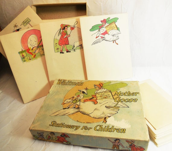 Mother Goose, Children's Stationary Set, Whitman Publishing, Original Box