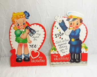 Valentine Cards, Mechanical Cards, Police, Traffic Cop, Boy and Girl, Mid Century, Vintage, Used Ephemera, Collectible