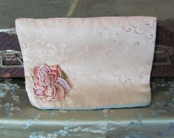"""Vintage Floral Embellished Satin Pouch Lingerie Holder Case Storage Padded Handmade 7.5"""" x 10"""""""