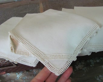 """Napkins Set of 6 Vintage Small Linen Luncheon Tea Party Napkins 11"""" Square - Many others to choose from in my shop! Cotton Linen Cloth"""