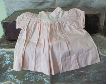Lovely Antique Pink Cotton Baby Infant Dress - Size 12 Months Made in the Philippines