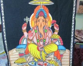 """Vintage Painted Elephant Buddha Tapestry 32"""" x 48"""" Black Background Fabric Unfinished Edges"""