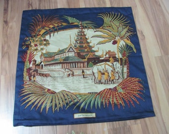 "Jim Thompson // Beautiful Blue Thai Silk Cotton Pillow Cover Case - 15"" Square"