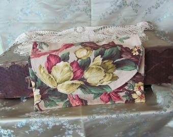Vintage Floral Textured Barkcloth Pouch Lingerie Holder Case Purse Snap Closure Handmade
