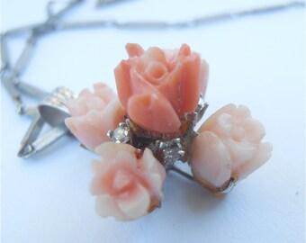 Vintage Coral Necklace Diamond Necklace Carved Coral Pendant Coral Diamond Pendant White Gold Necklace Peach Coral Flower Necklace