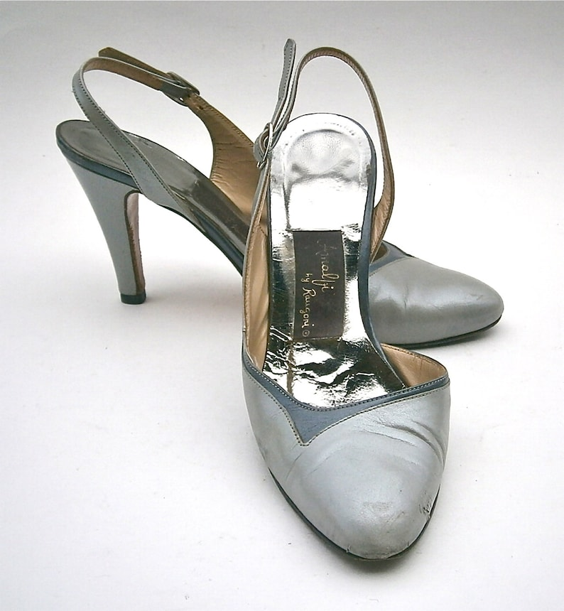 afc33f13b788a Vintage Gray Ladies Shoes High Heels Pumps Slingback Women Size 5 Amalfi  Rangoni Two Tone Italian All Leather Designer Iconic Made In Italy