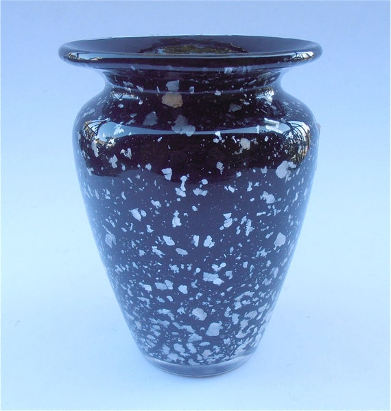 Vintage Flower Vase Black Crystal Vase Vtg Kurata Crystal Etsy