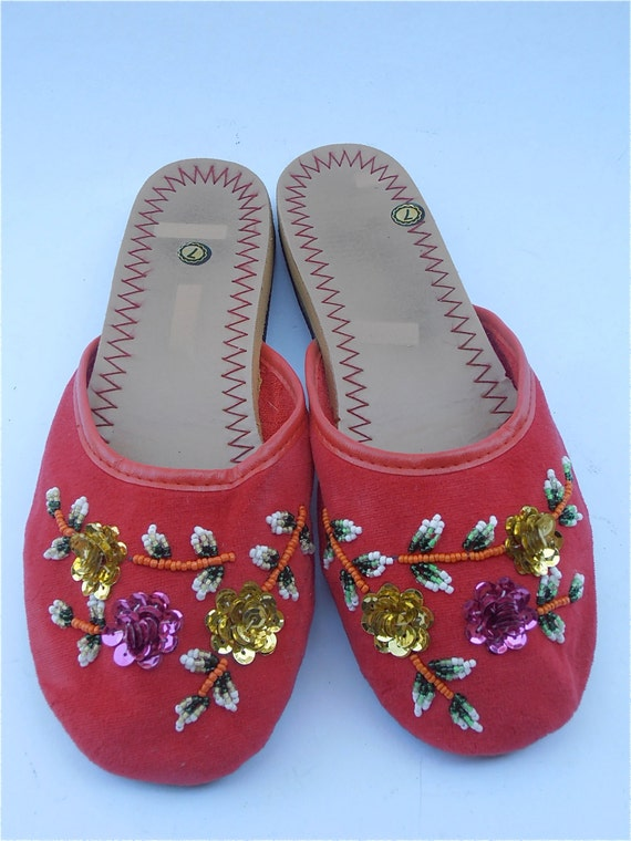 Vintage Red Slippers Vintage Red Chinese Slippers