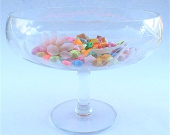Vintage Crystal Bowl Toscany Crystal Fruit Bowl Vintage Crystal Serving Bowl Stem Crystal Compote Crystal Serving Dish Toscany Virna Compote
