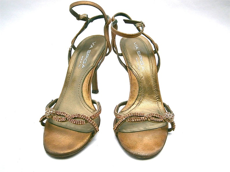 d6570d2c9994 Vintage Metallic Bronze Ladies Shoes Stilettos High Heels