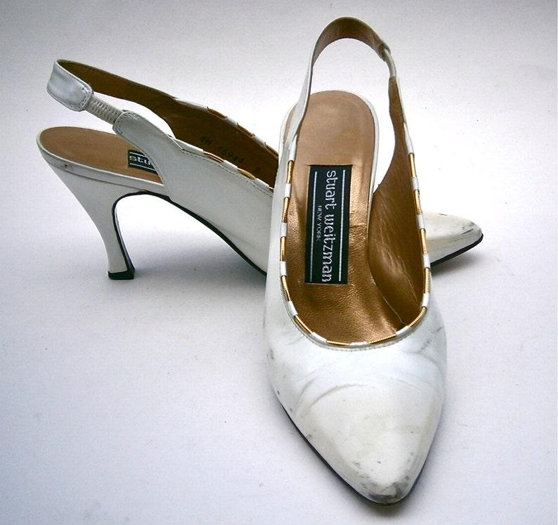4e4bca3836a2a Vintage White Satin Ladies Shoes All Leather Flared High Heels Stuart  Weitzman Slingbacks Gold Trim Pumps Women Size 5B Props Wedding Bride