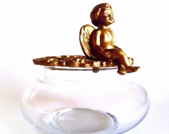 Potpourri Jar Cherub Angel Gold Lid and Glass Dish Home Decor Sachet Fragrance Bowl
