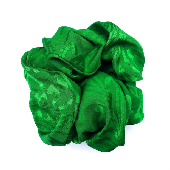 Vintage Emerald Green Scrunchie, Jacquard Fabric,… - image 1