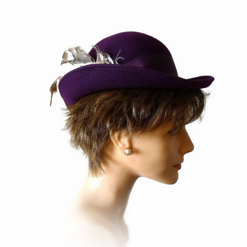 Vintage Purple Ladies Hat Winter Fall 1960 s Mad Men 100%  9a702c3c7bf0