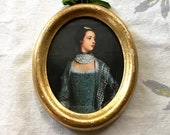 Vintage miniature portrait, young woman in 18th century dress, color print in gilt wood frame, glass, paper backing c1930 made in Italy