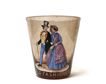 Vintage Bohemian hand painted enamel on amber bubble glass Old Fashioned Tumbler, figures in period costume c1920
