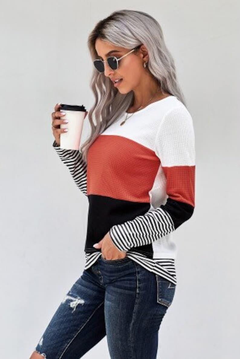 ladies long sleeved shirt Womens striped long sleeve top womens boutique clothes striped shirt boutique shirts ladies long sleeve top