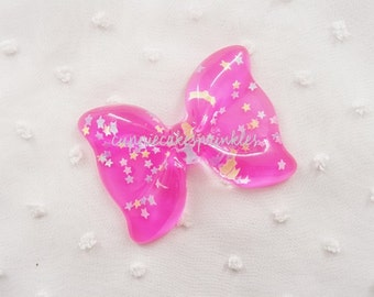 1pc - Large Fuchsia Confetti Ruffle Bow Decoden Cabochon (54x40mm) BL10021