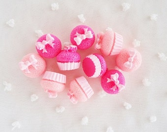 6pcs - Cute Pink Cupcake Mix Decoden Cabochon (13mm) CK10016