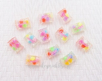 5pcs - Wrapped Candy with Hearts Decoden Cabochon (25x17mm) CDY040