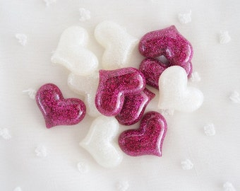 6pcs - Super Glittery Hearts Mix Decoden Cabochon (22x18mm) HRT10025