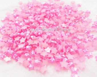 100pcs - 6mm Rose Pink Star Pearl Flatback Decoden PRM003