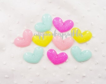 4pcs - Large Shimmery Hearts Mix Decoden Cabochon (39x27mm) HRM012