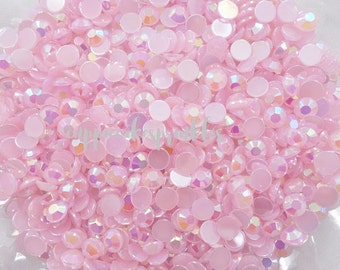 100pcs - 6mm Light Pink AB Jelly Flatback Rhinestones ARJ006