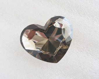 1pc - 43mm BIG Smoke Black Faceted Acrylic Heart Rhinestone AH20043